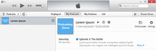 Previewing your podcast in iTunes