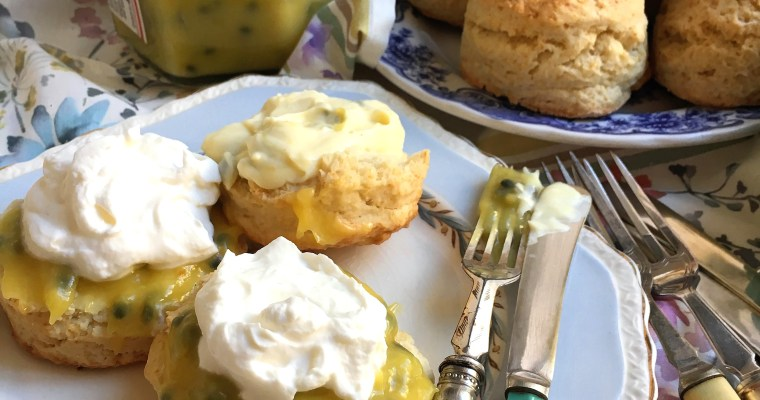 Coconut Scones with Passionfruit Curd