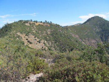 From Grass Mountain looking along the ridge at the knoll with no name and Zaca Peak on the right