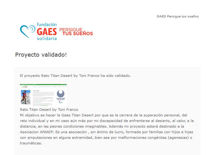 Proyecto Validado por GAES - Reto Titan Desert by Toni Franco