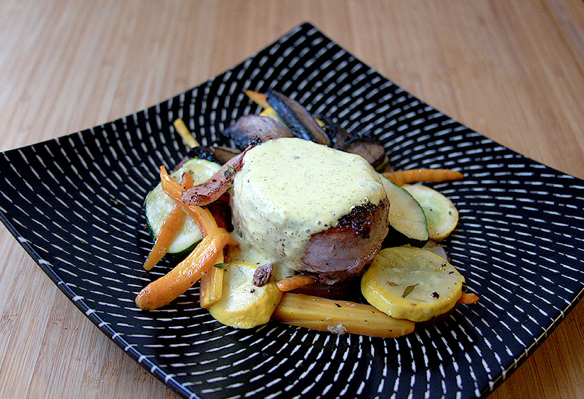 Perfect Date Night Dinner: Filet Mignon with Bearnaise Sauce, Portabella Mushrooms and Vegetable Gratin