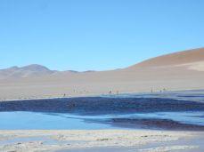 Drei Lagunen in der Caldera des Vulkan Galan. Drei Farben.