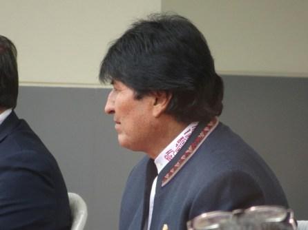 Evo Morales ganz nah. Eröffnung des Grenzüberganges in Desaguadero.
