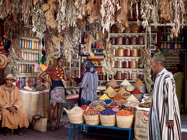 Nyong'o takes in the spice stalls in the medina. On the red carpet, she's drawn to vibrant colors, architectural silhouettes, and interesting prints—ideas channeled by Proenza Schouler