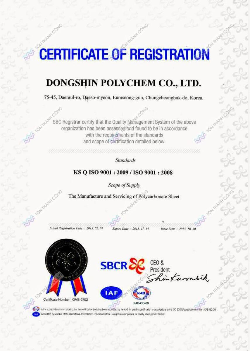 CR - CleanLight - Tấm Polycarbonate Lấy Sáng Đặc Ruột Hàn Quốc