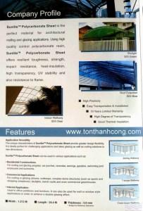Catalog Trang 2 – SUNLITE, Tấm Polycarbonate Rỗng Ruột Thái Lan