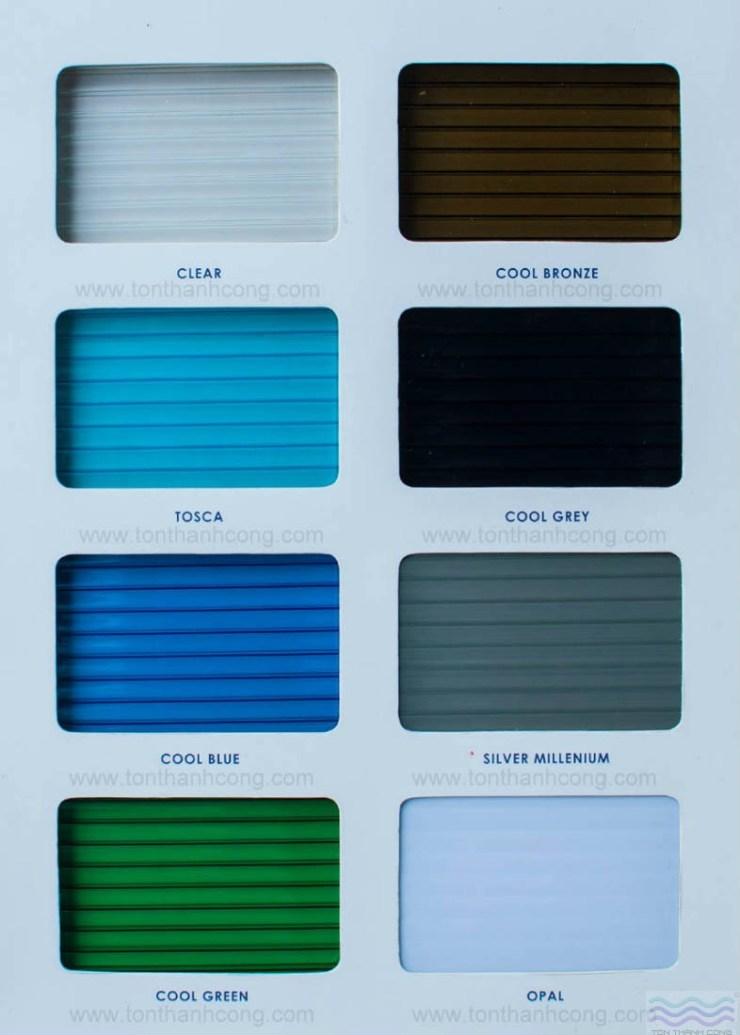 Bảng Màu – TWINLITE, Tấm Polycarbonate Rỗng Ruột Indonesia