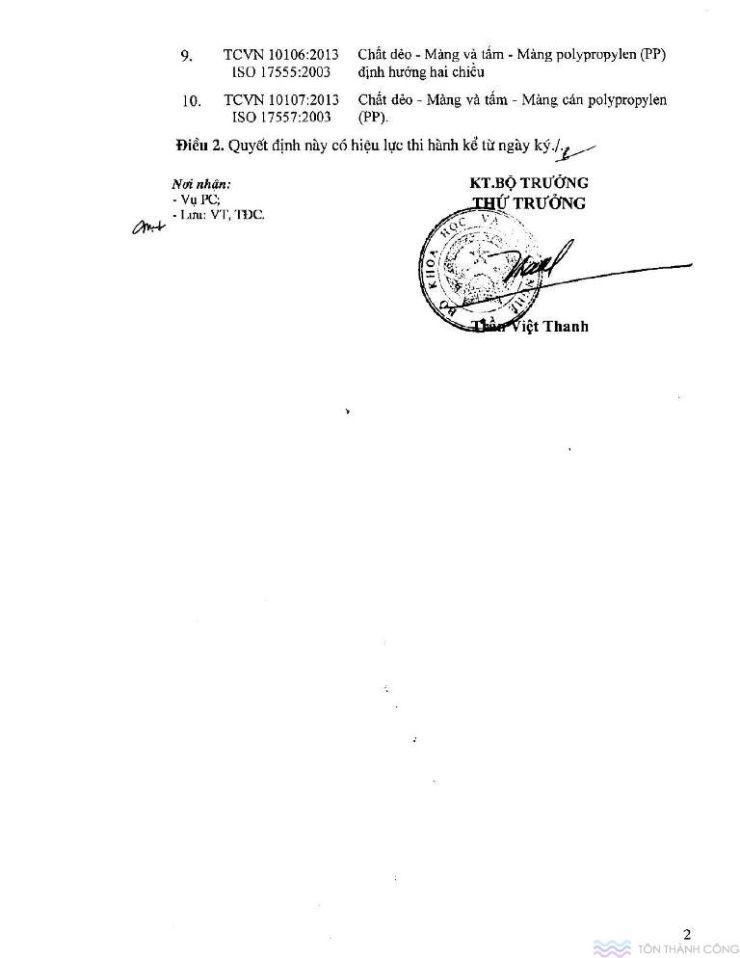 Công bố tiêu chuẩn quốc gia - Tấm polycarbonate - Trang 02