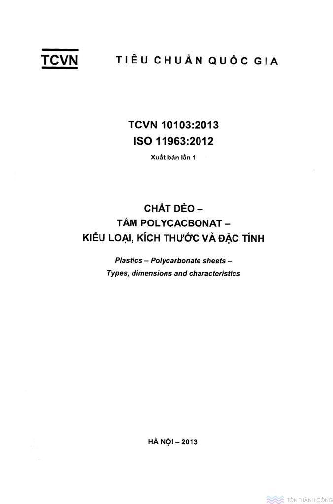 TCVN 10103:2013 - Tấm polycarbonate kiểu loại, kích thước và đặc tính - Trang 01