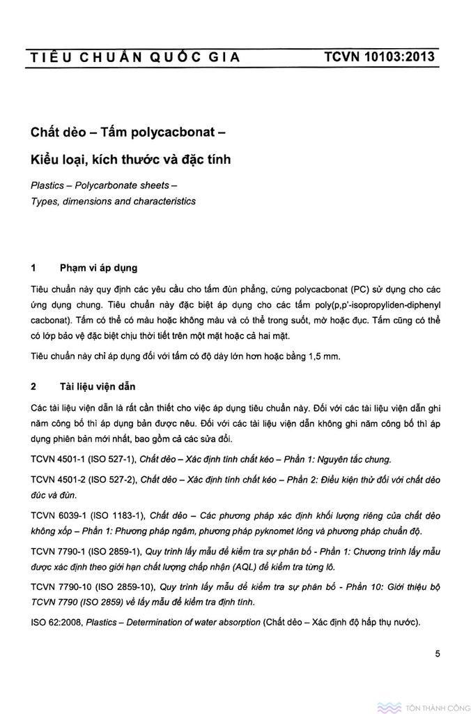 TCVN 10103:2013 - Tấm polycarbonate kiểu loại, kích thước và đặc tính - Trang 05