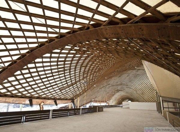 Mái Vòm làm bằng tấm lợp lấy sáng polycarbonate kết hợp với hệ khung gỗ tự nhiên
