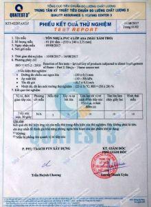 Chứng Chỉ Chất Lượng, kiểm tra khả năng Chống Cháy của Tôn PVC