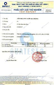 Chứng Chỉ Chất Lượng, kiểm tra Độ Cứng của Tôn PVC