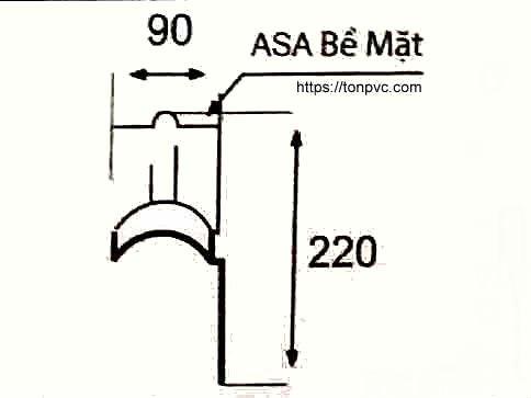 Bản vẽ mặt cắt của Tấm Úp Góc Nóc Mái, phụ kiện Ngói Nhựa Tổng Hợp ASA/PVC