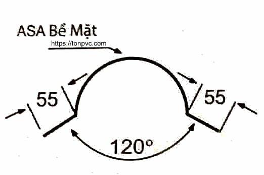 Bản vẽ mặt cắt của Tấm Úp Sườn Mái, phụ kiện Ngói Nhựa Tổng Hợp ASA/PVC