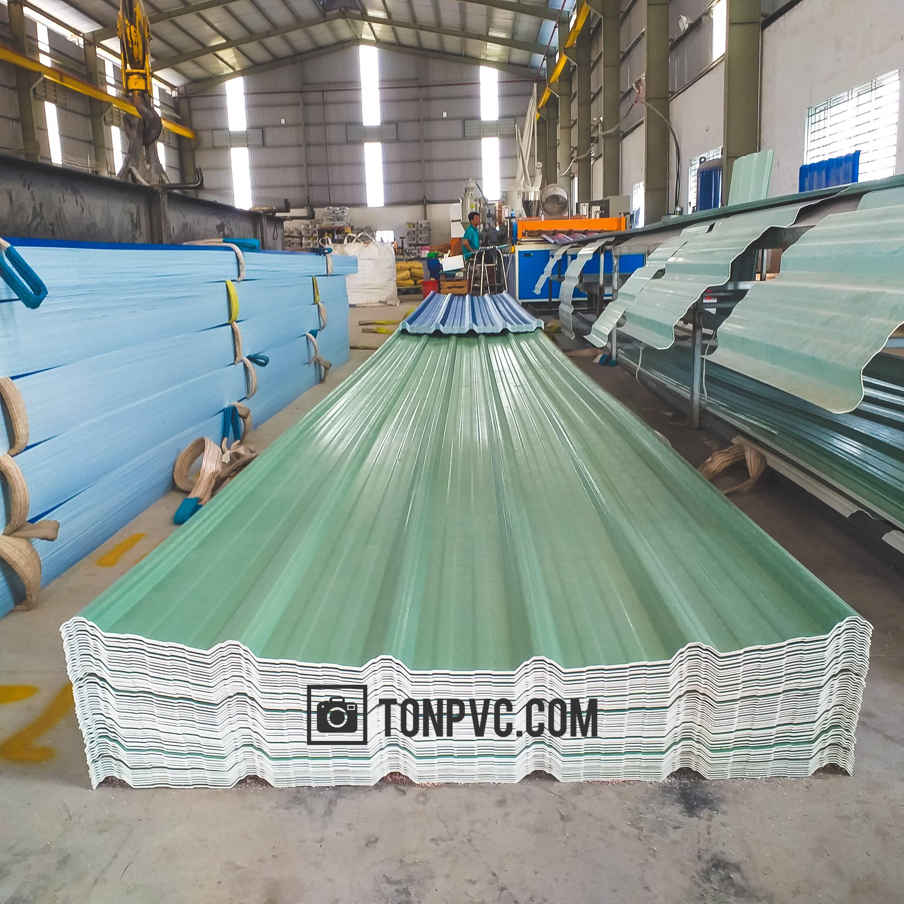 Tôn Nhựa ASA PVC 6 Sóng Vuông màu Xanh Ngọc