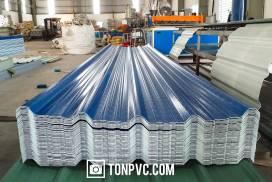 Tôn Nhựa ASA PVC 5 Sóng Vuông màu Xanh Dương