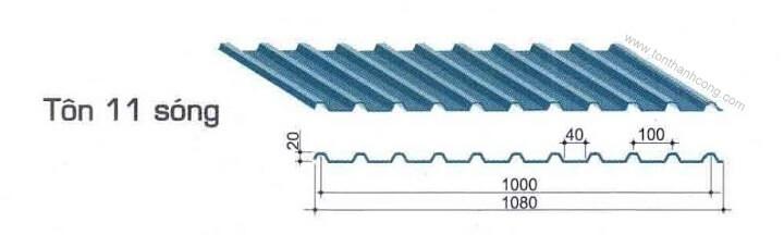 Tôn Sáng 11 Sóng Vuông - Sợi thủy tinh composite frp kháng ăn mòn