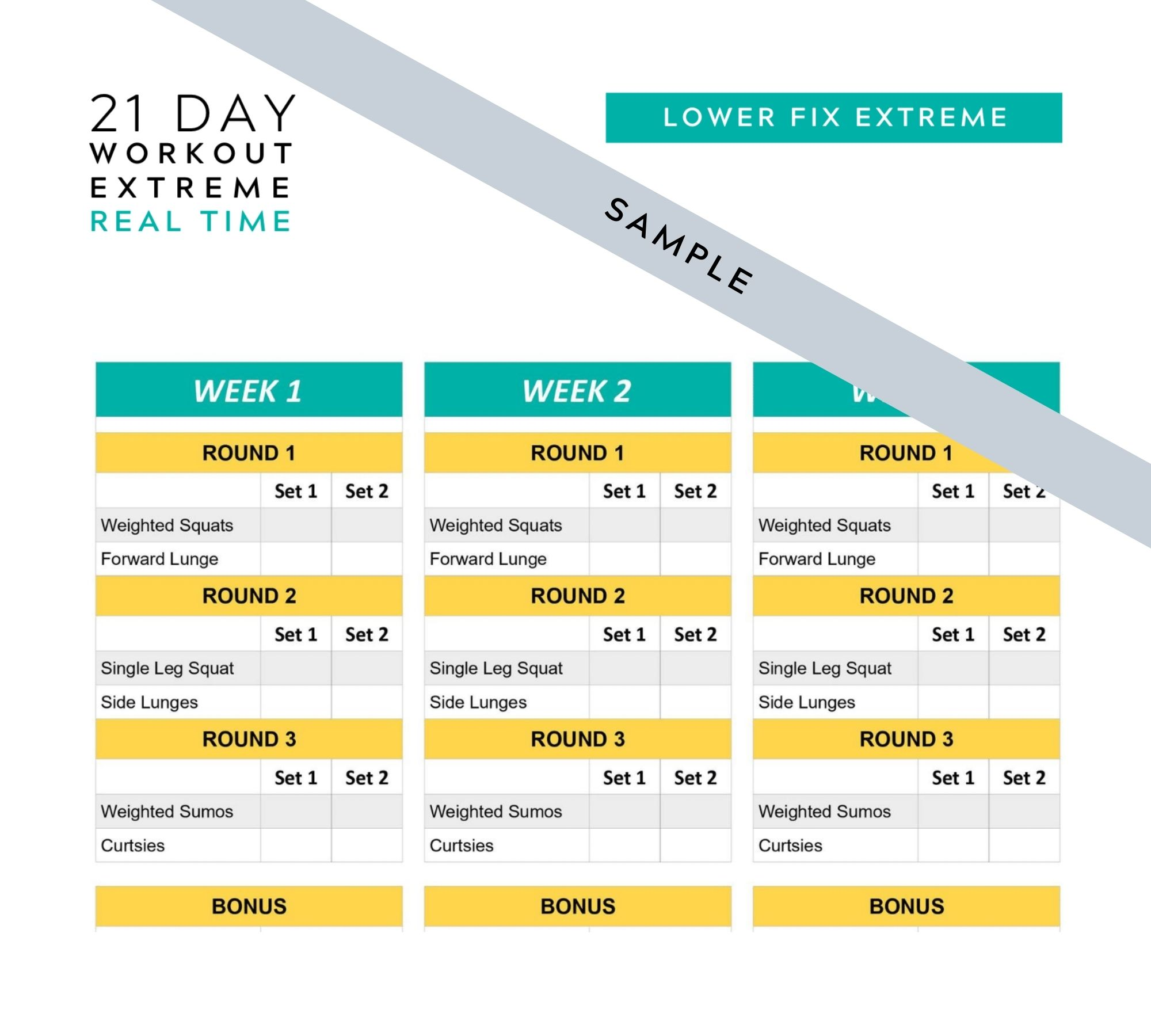 21 Day Fix Extreme Real Time Printable Tracking Sheets