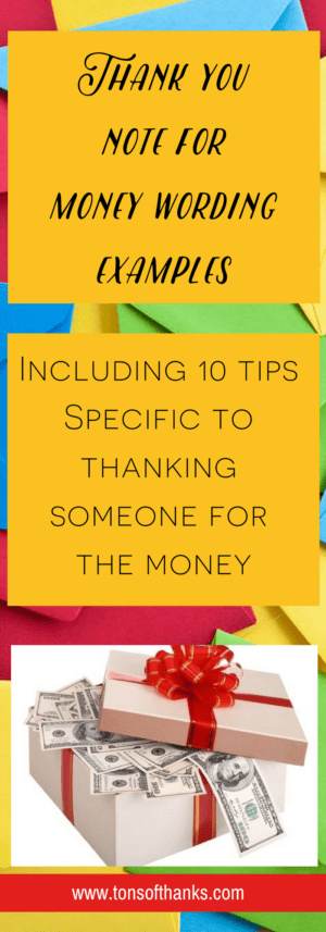 Thank you note for money note examples