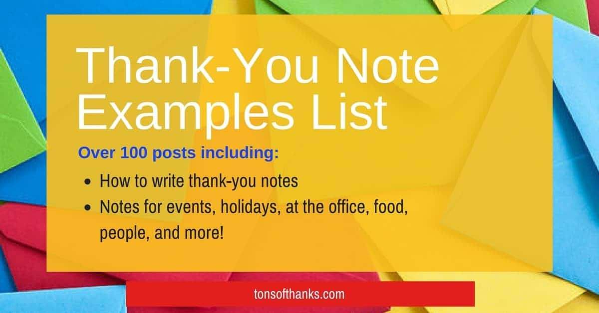 Resource Thank You Note Example List