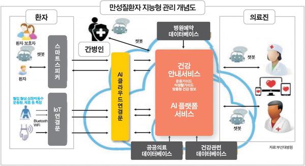 만성 질환자 지능형 관리 개념도 (부산대병원) (http://www.kookje.co.kr/news2011/asp/newsbody.asp?code=0800&key=20180105.22019000899)
