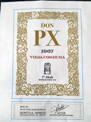 label from Bodegas Toro AlbaláDon PX Selección 1967