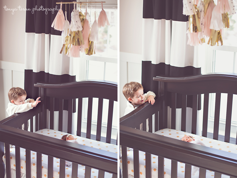 Newborn and toddler sibling in nursery | Rockville, MD Newborn Baby and Family Photographer
