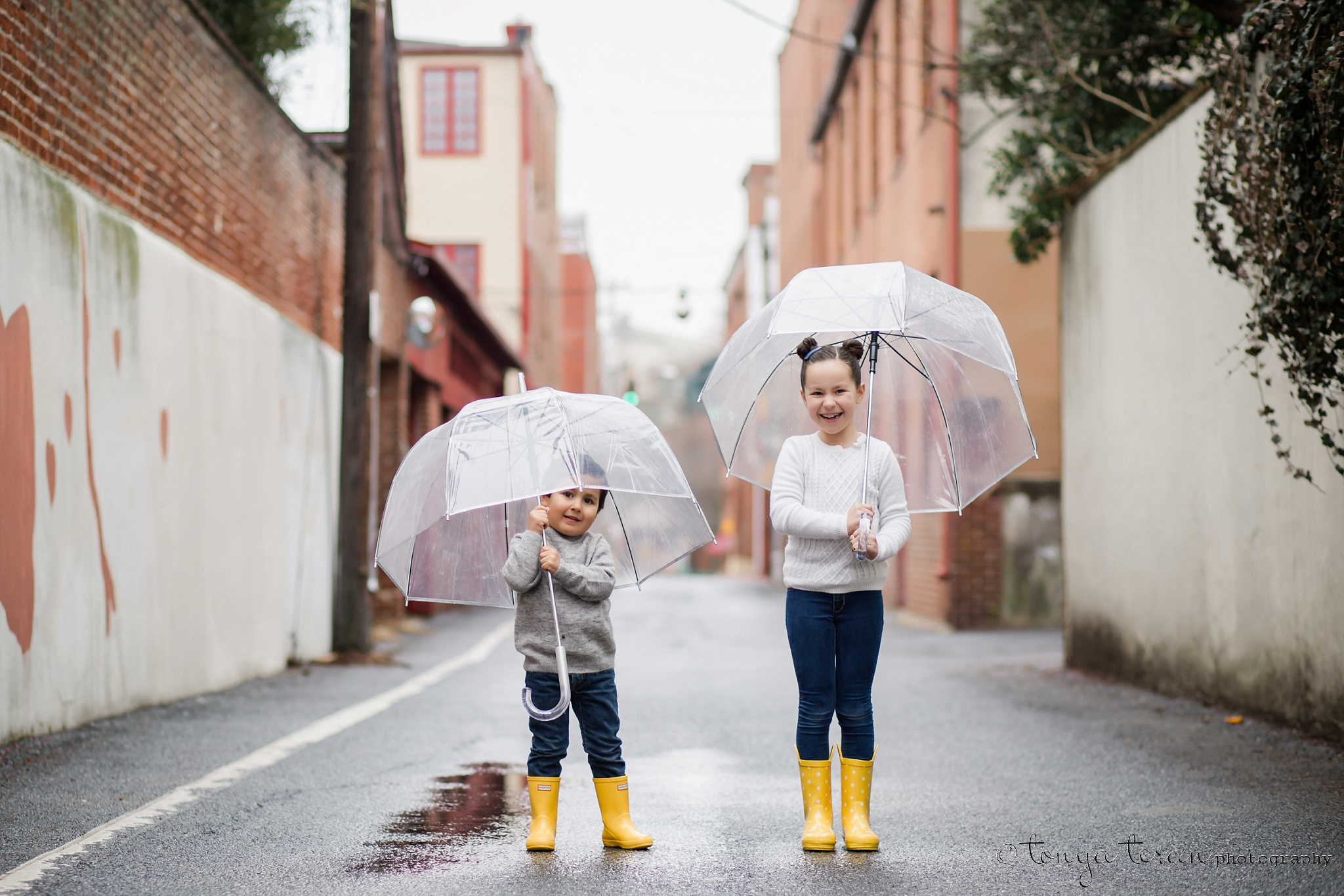 Downtown Sibling Rain Photo Session | Tonya Teran Photography, Frederick, MD Newborn, Baby, and Family Photographer