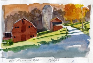 Wes tArlington Farrm, West Arlington, Vermont - watercolor plein air sketch by Tony Conner