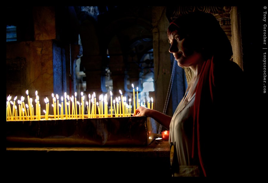 Jerusalem - Little Red Riding Hood inside the Church of the Holy Sepulchre - 2013 © Tony Corocher | All Rights Reserved