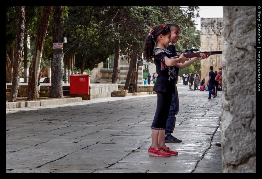 Youngsters playing inside the walls of Al-Aqsa Mosque in Jerusalem - 2013 © Tony Corocher | All Rights Reserved