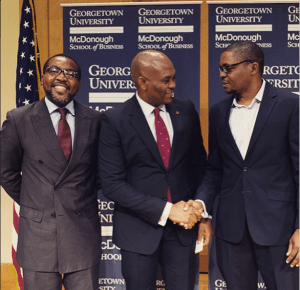 L-R: Gabino Guerengomba from the Central African Republic; Tony Elumelu; & Emeka Ebo from Nigeria