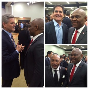 Clockwise from L-R: Tony Elumelu with Steve Case, founder of AOL; Mark Cuban, owner of the Dallas Mavericks; and Daymond John, founder & CEO of FUBU