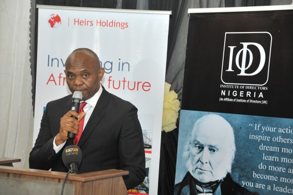 Tony O. Elumelu delivering his speech at the IoD dinner