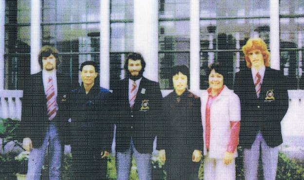 New Zealand players and their Chinese coaches outside Dong Fang Hotel, Guangzhou 1975