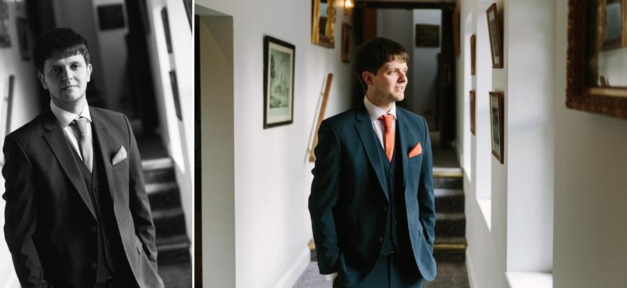groom portrait at Seiont manor wedding
