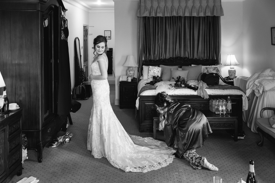 bride nearly ready at Seiont manor wedding