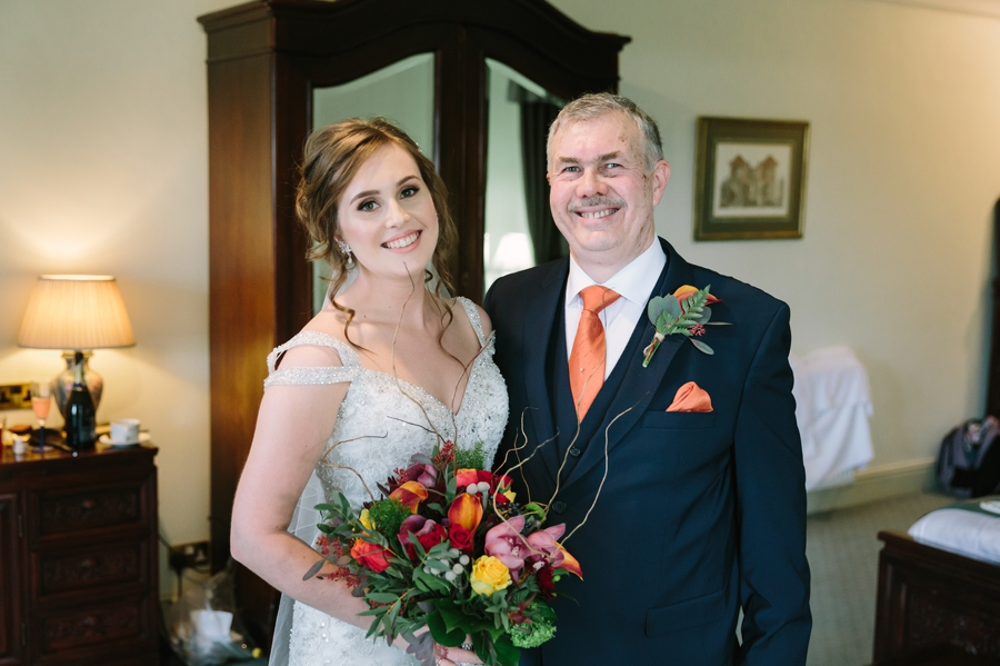 bride and father at Seiont manor wedding