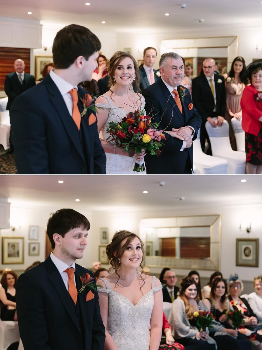 smiling bride at Seiont manor wedding ceremony