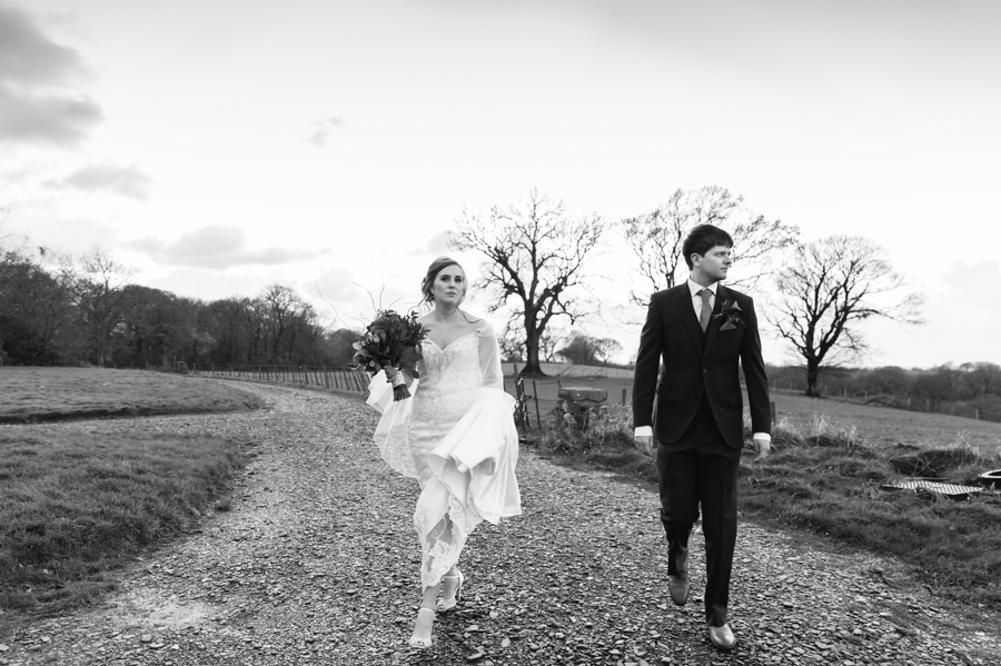 stylish bride and groom at Seiont manor wedding