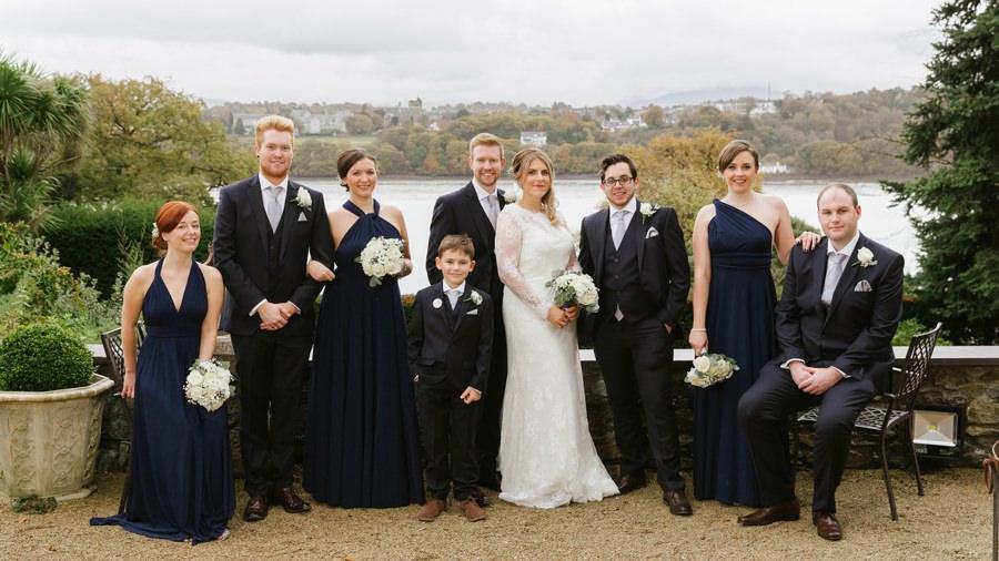 bridal party at Chateau Rhianfa