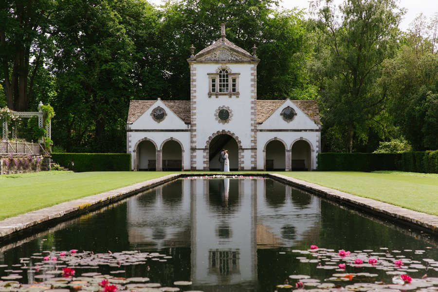 bride and groom at Pin Mill in Bodnant Garden. Get married in North Wales