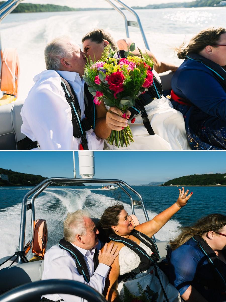 Wedding day rib ride on the Menai Straits
