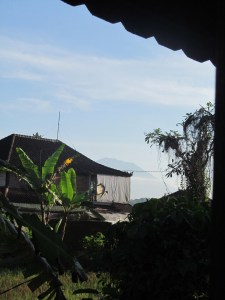 The view from inside my room, featuring Mt. Batur in the distance