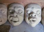 Unpainted masks in Nyoman's studio.