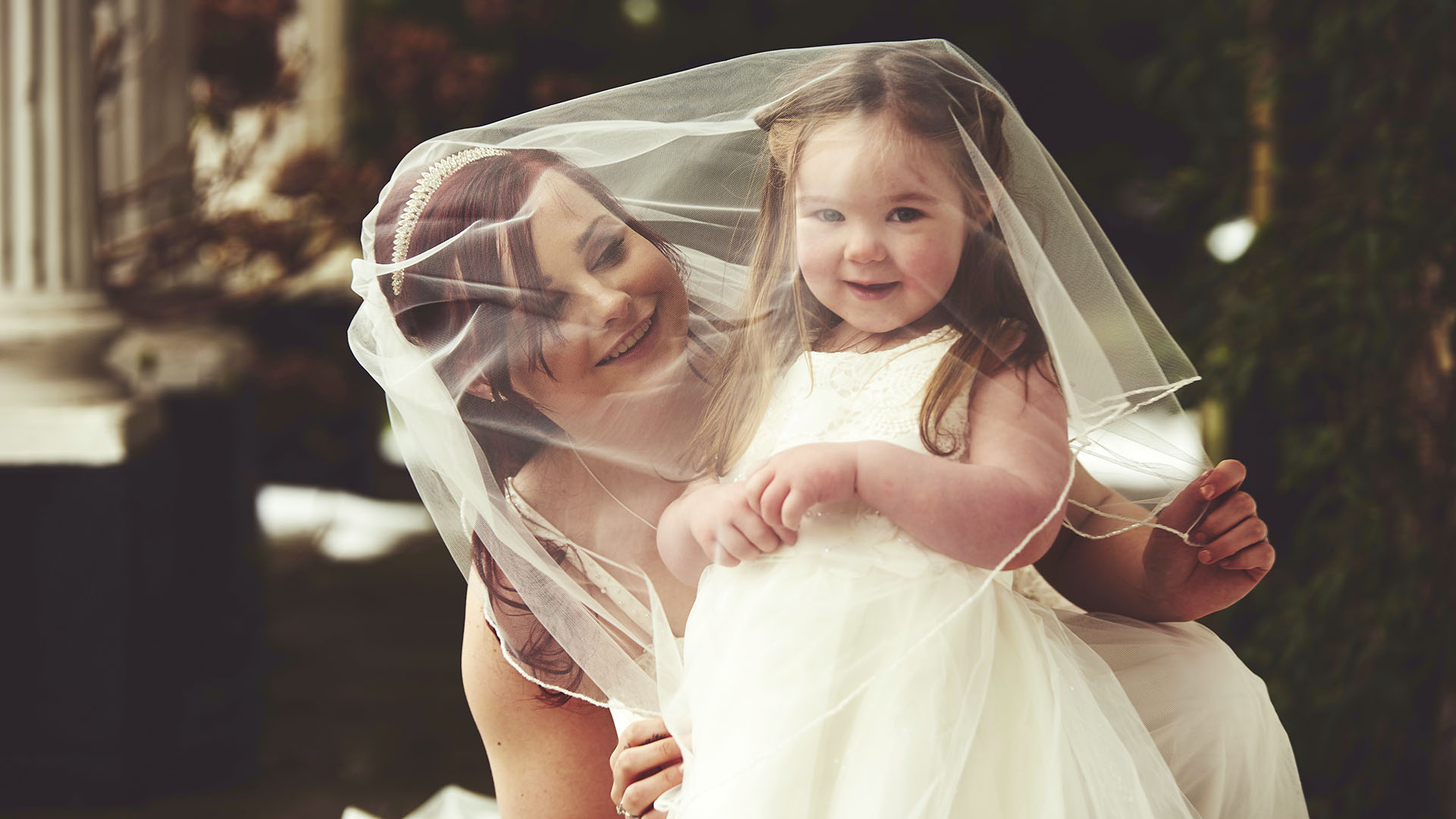 Bride & Her Flowergirl - Winter Wedding at Ringwood Hall Hotel, Chesterfield, Derbyshire - Wedding Photographer