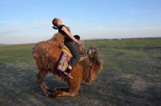 Vicky stuck on camel