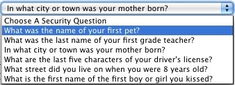 Facebook Security Question Choices