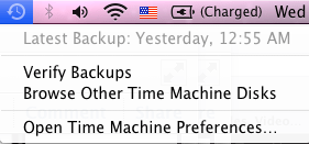 Time Machine Menu Bar With Options Key